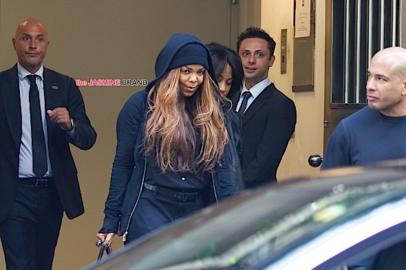 Janet Jackson leaving the Armani Hotel in Milan
