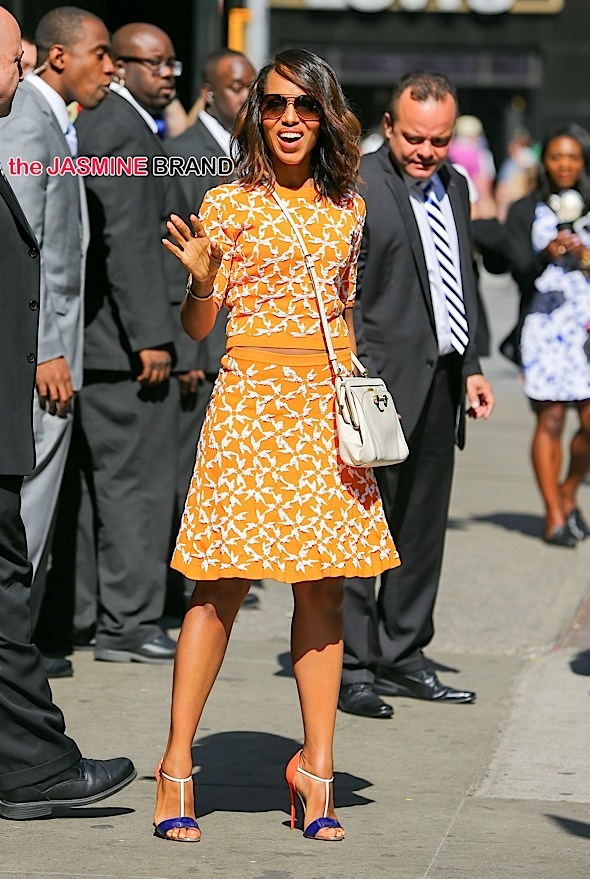 Kerry Washington waves as she leaves 'Good Morning America' in New York City