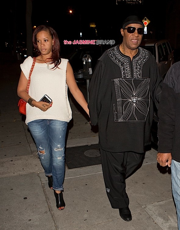 Stevie Wonder and his wife were seen arriving at 'Craigs' Restaurant in West Hollywood, CA