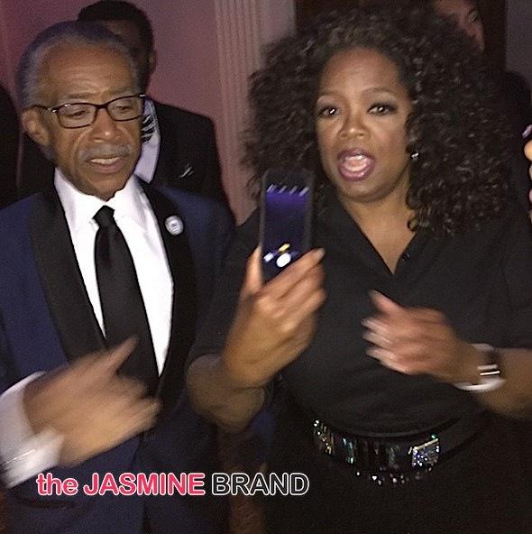 Al Sharpton, Oprah (attempting a selfie)