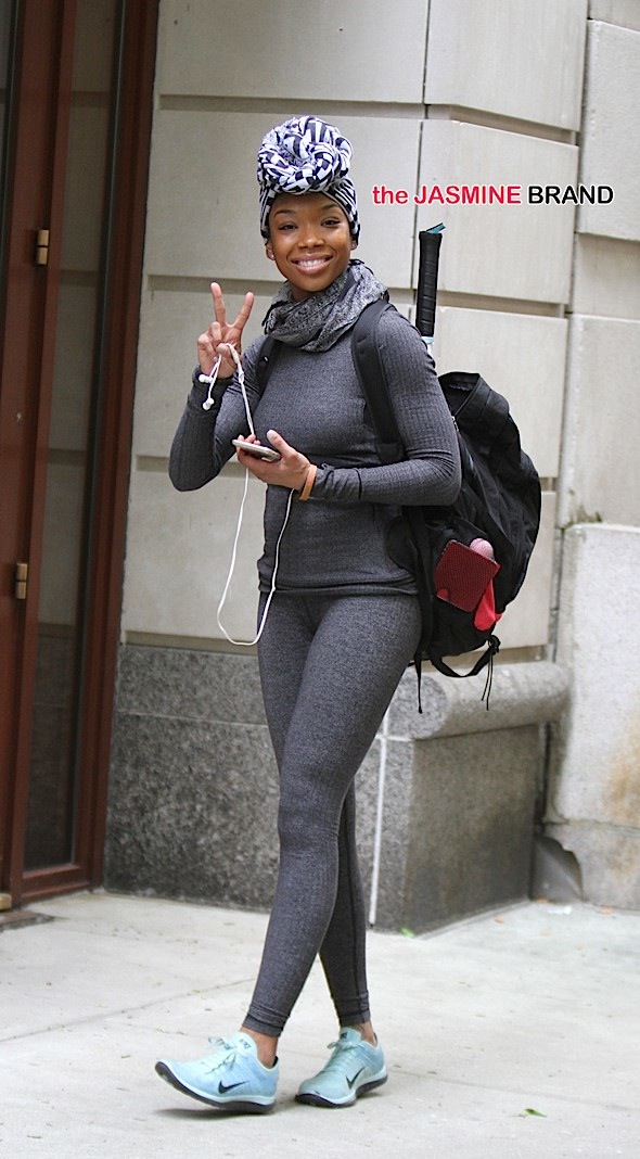 Singer Brandy leaving the gym in NYC