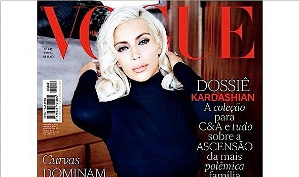 Kim Kardashian Goes Platinum Blonde for Vogue Brazil [Photos]