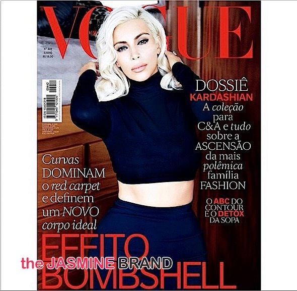 Kim Kardashian Goes Platinum Blonde for Vogue Brazil [Photos]