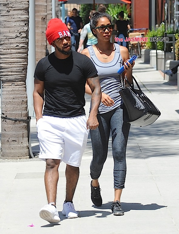 Omarion and his girlfriend ,Apryl Jones, are seen arriving at the doctors office in Beverly Hills