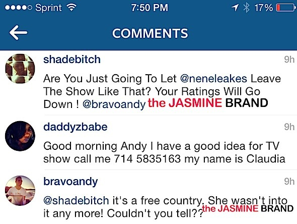 Andy Cohen reacts to NeNe Leakes Leaving RHOA-the jasmine brand