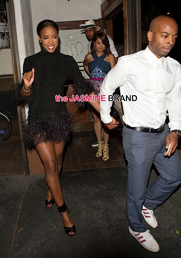 Kelly Rowland and her husband Tim Witherspoon joined Ciara and her football player boyfriend Russell Wilson and Basketball player Carmelo Anthony and Lala Vasquez for dinner at 'Madeo' Italian Restaurant in West Hollywood, CA