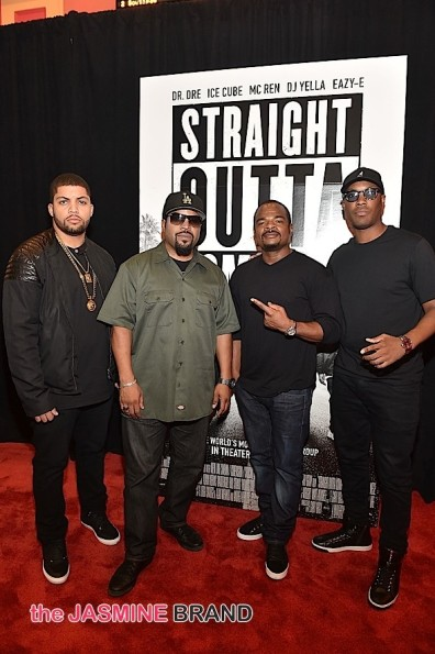 O'Shea Jackson Jr., Ice Cube, F. Gary Gray, and Corey Hawkins at the 'Straight Outta Compton'  sceening