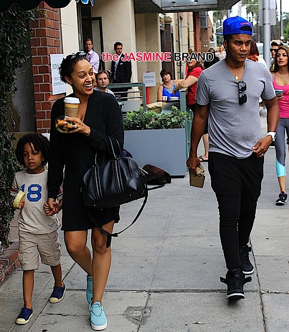 Tia Mowry and her husband Cory Hardrict and son Cree spotted in Beverly Hills