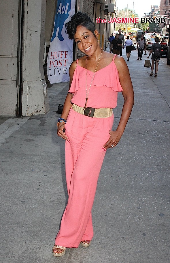 Actress Tichina Arnold arrives at the AOL offices in NYC's East Village.