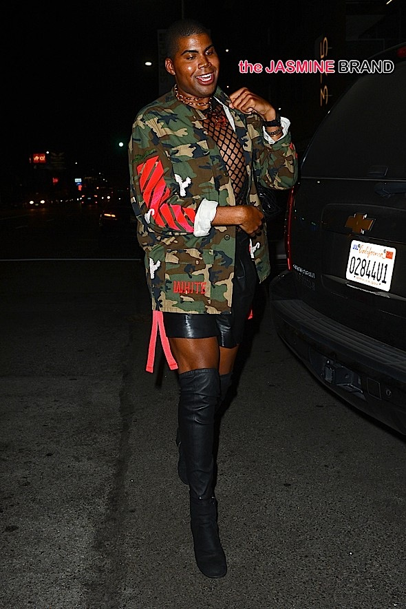 EJ Johnson Wears a Fishnet Shirt at Nice Guy