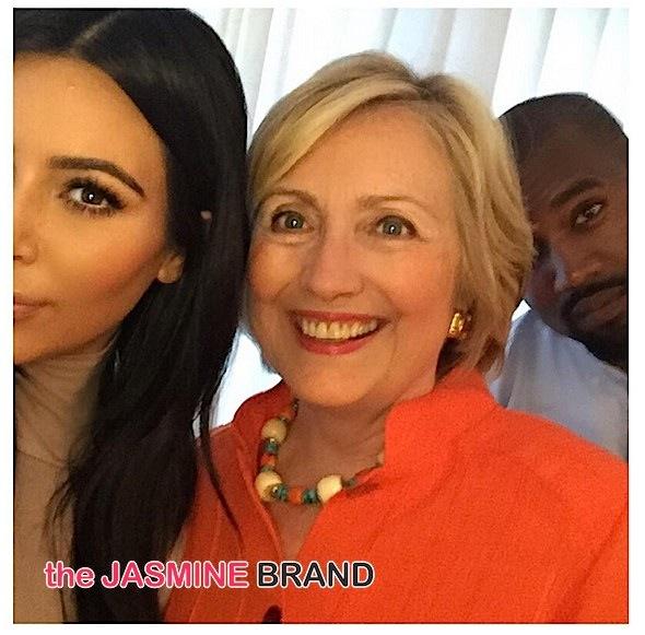 People & Politics! Kim Kardashian & Kanye West Snap A Selfie With Hillary Clinton + Usher & Fiancee Attend Fundraiser [Photos]