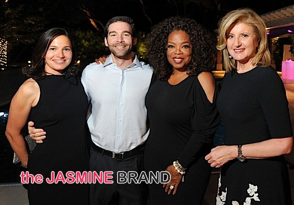 Oprah with (second from right), Arianna Huffington (right), LinkedIn CEO Jeff Weiner (second from left), and his wife Lisette Weiner (left)