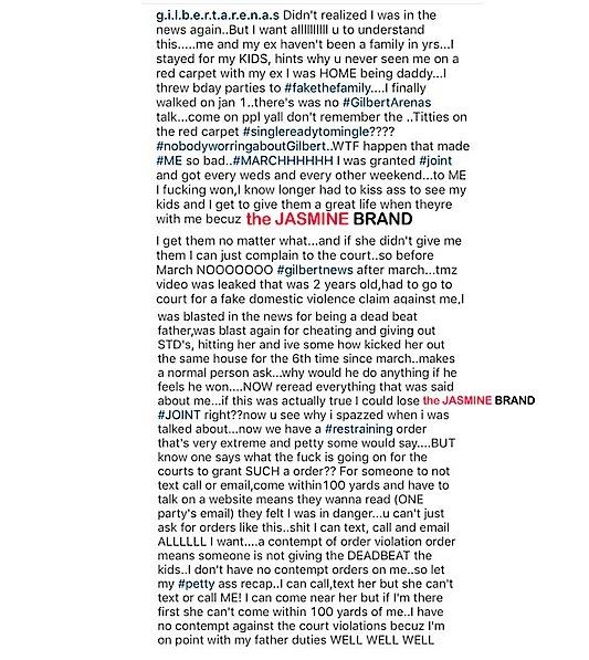 Gilbert Arenas Slams Laura Govan Instagram-the jasmine brand