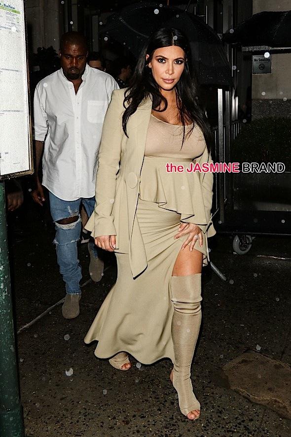 Kanye West and Kim Kardashian West arrive at Rihanna's NYFW Block Party