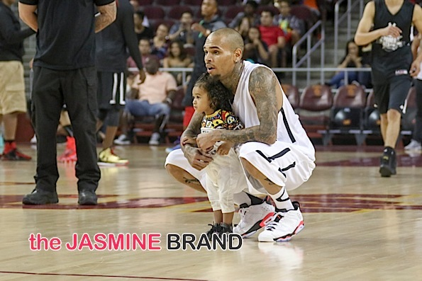 Rita Ora, Chris Brown & Baby Royalty Spotted at Celebrity Basketball Game [Photos]