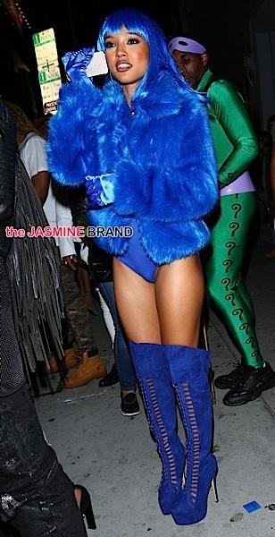 Karrueche Tran leaves The Argyle wearing Lil' Kim Halloween Costume!