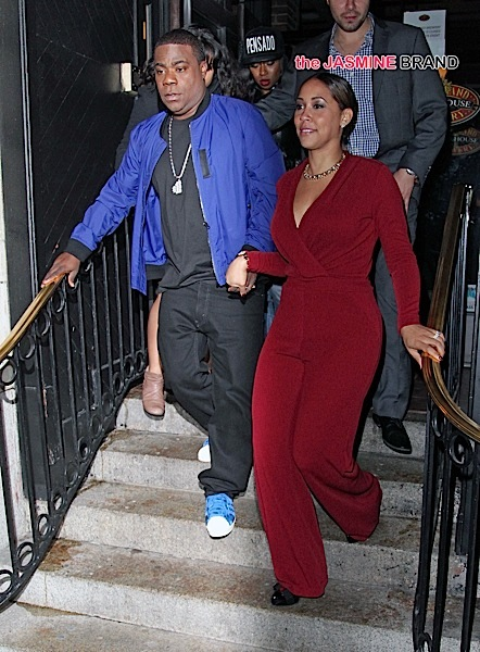 Tracy Morgan and his wife Megan Wollover pictured arriving and then leaving Saturday Night Live after party in New York City.