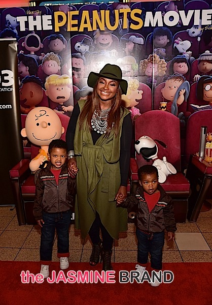 Phaedra Parks with sons Ayden Nida (L) and Dylan Nida (R)