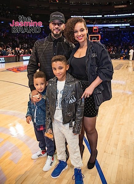 Alicia Keys and Swizz Beatz and sons attend basketball game at Madison Square Garden