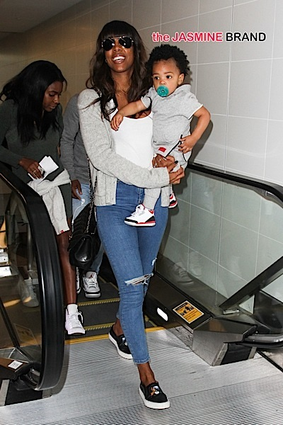 Kelly Rowland and her son Titan Jewell Witherspoon seen at LAX Airport