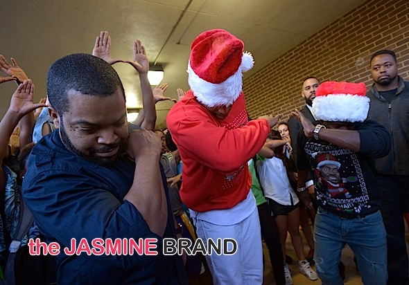 Ice Cube, Cam Newton, Kevin Hart, Dab with Students