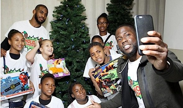 NBA's Chris Paul & Kevin Hart Donate Toys to Over 900 Kids! [VIDEO]