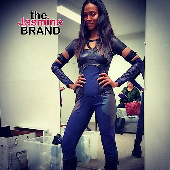 Zoe Saldana shows off post pregnancy body-the jasmine brand