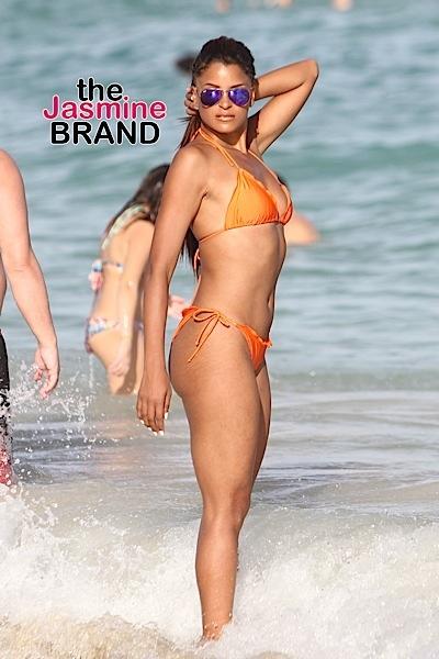 Claudia Jordan and friend actress Annie Ilonzeh in bikinis in Miami Beach.