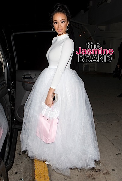 'Basketball Wives' Star, Draya Michele wears a stunning all white dress resembling a Wedding Gown celebrates her 31st birthday with her Engagement ring on with friends at 'Giorgio Baldi' Italian Restaurant in Santa Monica, CA  Pictured: Draya Michele Ref: SPL1214364  240116   Picture by: SPW / Splash News  Splash News and Pictures Los Angeles:	310-821-2666 New York:	212-619-2666 London:	870-934-2666 photodesk@splashnews.com