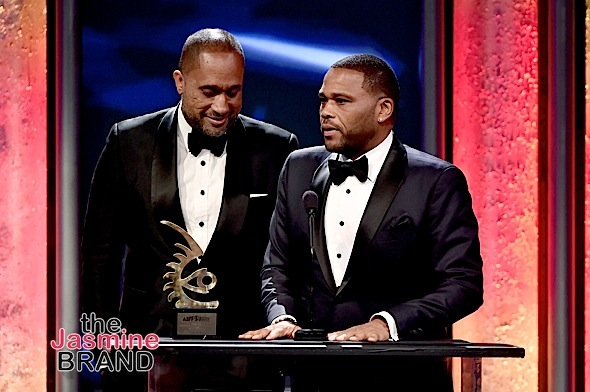 BEVERLY HILLS, CA - FEBRUARY 21: Actor Anthony Anderson (R) and writer-producer Kenya Barris accept the Television Show of the Year award for 'Black-ish' onstage during the 2016 ABFF Awards: A Celebration Of Hollywood at The Beverly Hilton Hotel on February 21, 2016 in Beverly Hills, California. (Photo by Alberto Rodriguez/BET/Getty Images for BET)