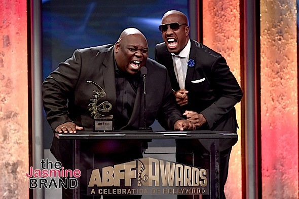 BEVERLY HILLS, CA - FEBRUARY 21: Actors Faizon Love (L) and J.B. Smoove speak onstage during the 2016 ABFF Awards: A Celebration Of Hollywood at The Beverly Hilton Hotel on February 21, 2016 in Beverly Hills, California. (Photo by Alberto Rodriguez/BET/Getty Images for BET)