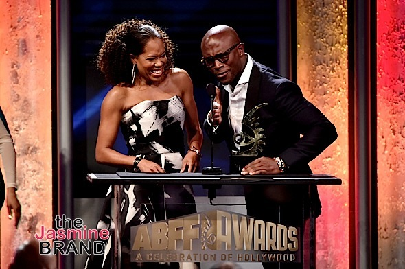 Regina King (L) accepts the ABFF Excellence in the Arts Award from actor Taye Diggs