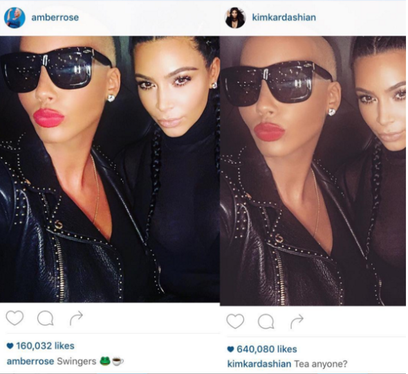 Amber Rose & Kim Kardashian End Beef, Stunt for the Gram [Photos]