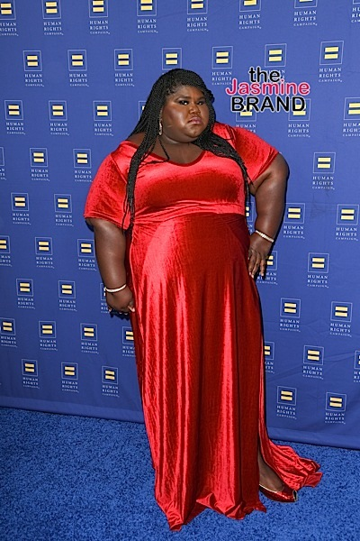 03/19/2016 - Gabourey Sidibe - Human Rights Campaign 2016 Los Angeles Gala Dinner - Arrivals - JW Marriott Los Angeles at L.A. LIVE - Los Angeles, CA, USA - Keywords: Vertical, People, Person, Celebrity, Arrival, Attending, Awareness, LGBTQ, California, City Of Los Angeles, Arrival, Photography, Arts Culture and Entertainment, Gala, Celebrities, Marriott International Orientation: Portrait Face Count: 1 - False - Photo Credit: PRPhotos.com - Contact (1-866-551-7827) - Portrait Face Count: 1