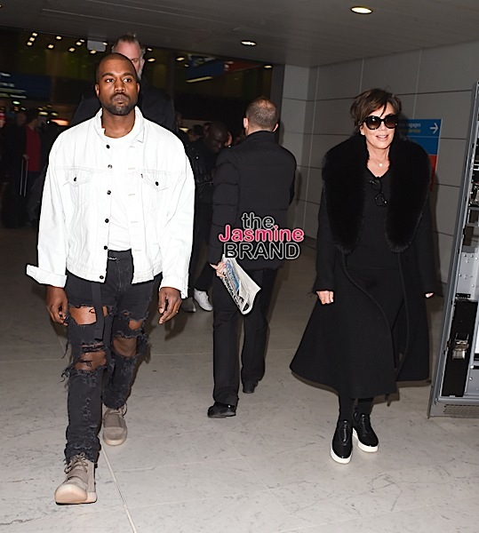 Kanye West And Kris Jenner arrive at charles de gaulle airport for paris fashion week.