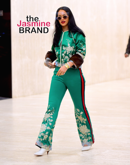 Rihanna was spotted leaving Roc Nation Headquarters in NYC, after 4 hours of meetings on Tuesday. She strutted through the midtown office building lobby, wearing a silk green track suit, with flower embroidery. She wore a pair of retro sunglasses, despite it being passed midnight and dark outside. She looked stunning as she headed from the office building, to a Recording studio, to work on a new project. Pictured: Rihanna Ref: SPL1253525 280316 Picture by: 247PAPS.TV / Splash News Splash News and Pictures Los Angeles: 310-821-2666 New York: 212-619-2666 London: 870-934-2666 photodesk@splashnews.com