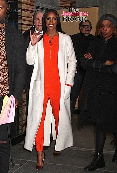 Singer Kelly Rowland visits 'Good Morning America' in NYC's Times Square to promote the BET television show 'Chasing Destiny' wearing a long white coat and an orange pantsuit Pictured: Kelly Rowland Ref: SPL1253843 300316 Picture by: Fortunata / Splash News Splash News and Pictures Los Angeles: 310-821-2666 New York: 212-619-2666 London: 870-934-2666 photodesk@splashnews.com