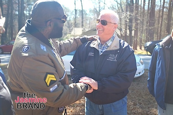 Rick Ross is welcomed by David Barloe, Fayette County Commissioner