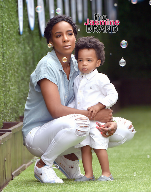 Kelly Rowland and son Titan at a Beverly Hills event.
