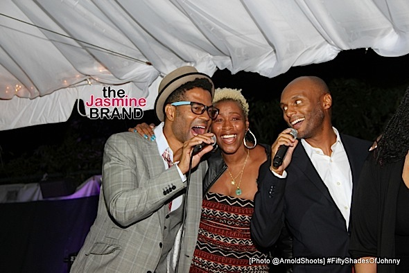BELL AIR, CA - MAY 22: Singers Eric Benét, Traci Nelson and Kenny Lattimore seen performing at Johnny Gill's 50TH Birthday Party on Sunday May 22, 2016 at a private residence in Bell Air, CA. (Photo by Arnold Turner/ATA)