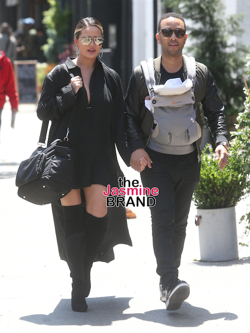 John Legend and Chrissy Teigen and their daughter Luna leave the Bowery Hotel in New York City.