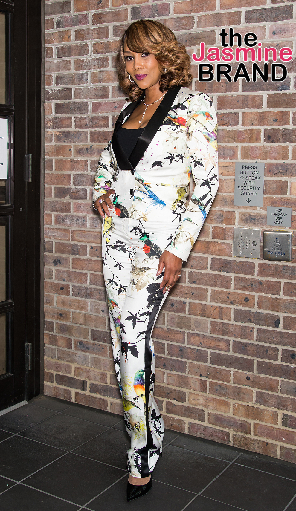 Vivica A. Fox visits Fox 29's Good Day morning show in Philadelphia, PA on May 19, 2016. Vivica A. Fox is seen wearing Roberto Cavalli silk bird-print matching blazer and trousers.  Pictured: Vivica A. Fox Ref: SPL1284553  190516   Picture by: Ouzounova/Splash News  Splash News and Pictures Los Angeles:	310-821-2666 New York:	212-619-2666 London:	870-934-2666 photodesk@splashnews.com