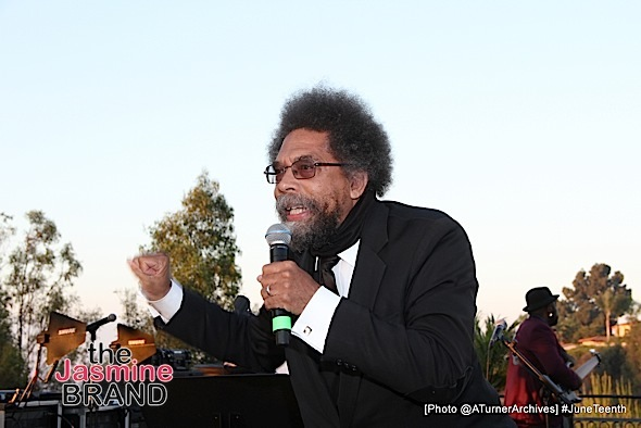 LOS ANGELES, CA - JUNE 16: Cornel West speaks to guests at 15th Annual Juneteenth Celebration with Special Tribute to Prince on Thursday, June 16, 2016 at the Quarles Estate in Los Angeles, California. (Photo by @ATurnerArchives)