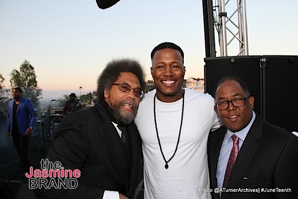 LOS ANGELES, CA - JUNE 16: Cornel West, Flex Alexander and Los Angeles County Supervisor Mark Ridley-Thomas at 15th Annual Juneteenth Celebration with Special Tribute to Prince on Thursday, June 16, 2016 at the Quarles Estate in Los Angeles, California. (Photo by @ATurnerArchives)