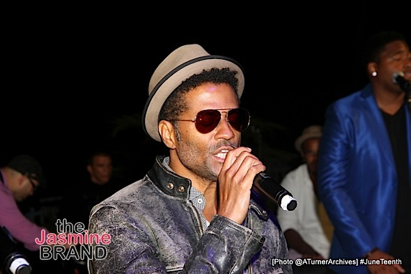 LOS ANGELES, CA - JUNE 16: Eric Benét performs at 15th Annual Juneteenth Celebration with Special Tribute to Prince on Thursday, June 16, 2016 at the Quarles Estate in Los Angeles, California. (Photo by @ATurnerArchives)
