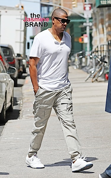 Jay Z spotted visiting an Art Gallery in Soho wearing Cream pants and a white shirt, NYC  Pictured: Jay Z Ref: SPL1300382  130616   Picture by: Splash News  Splash News and Pictures Los Angeles:	310-821-2666 New York:	212-619-2666 London:	870-934-2666 photodesk@splashnews.com