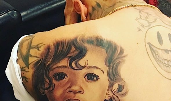 Inked Up! Chris Brown Reveals Daughter Royalty Tattoo [Photos]