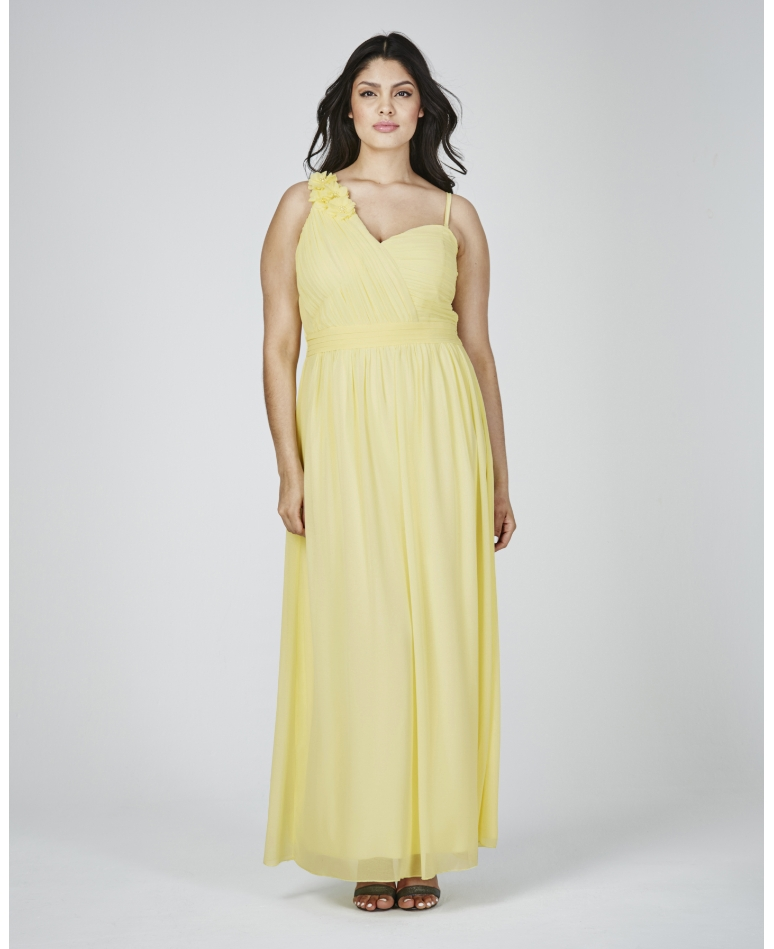 a11c0ee63c3 This yellow one shoulder maxi dress is a great option. The cinched waist is  great for showing off your curves.