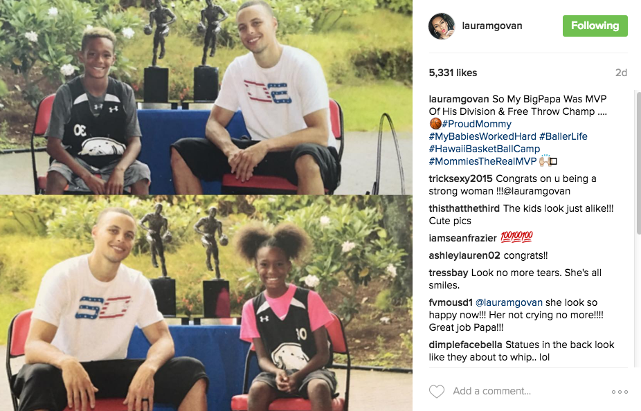 Gilbert Arenas & Laura Govan's kids attend Curry's camp.