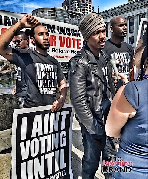 Nick Cannon Protests Outside Republican Convention [Photos]